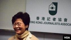 香港特首候選人林鄭月娥 (美國之音特約記者 湯惠芸拍攝)