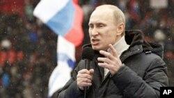 2月23號,俄羅斯總理普京在莫斯科一次競選集會上發表講話。