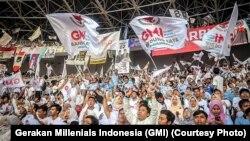 Gerakan Milenial Indonesia (GMI) dalam acara kampanye pada Pilpres 2019. (Foto: GMI).