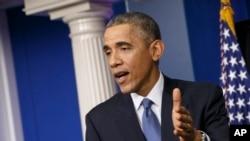 지난해 12월 바락 오바마 대통령이 백악관에서 소니 해킹과 사건에 관련해 북한에 제재를 가할 것을 발표하고 있다. (자료사진)