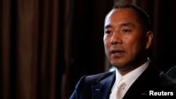Billionaire businessman Guo Wengui speaks during an interview in New York City, April 30, 2017. A Chinese official has filed a $10 million defamation suit against Guo.