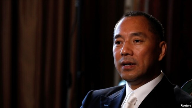 Billionaire businessman Guo Wengui speaks during an interview in New York City, April 30, 2017.