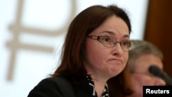 FILE - Russia's Central Bank Governor Elvira Nabiullina.