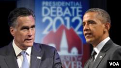 Prezidan Barack Obama (adwat) epi Gouvènè Mitt Romney