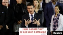 El primer ministro francés Manuel Valls durante la conferencia de prensa en la que anunció que será candidato en enero para las primarias presidenciales del partido Socialista.