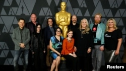 Para aktor dan aktris yang dinominasikan dalam film-film Oscar 2017 berfoto di Academy of Motion Picture Arts and Sciences, di Beverly Hills, California, 1 Maret 2018.