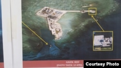 FILE - Philippine military's images of China's reclamation in the Spratlys, Gaven Reef, April 12, 2015. (Armed Forces of the Philippines)