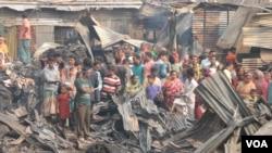 Fire inthe slums in Bashbari, Mohammadpur, Dhaka, Bangladesh