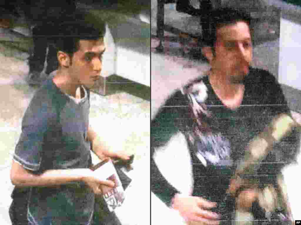 Esta colagem de imagens publicada pela Interpol e divulgada pela polícia malaica em Sepang, Malásia, a 11 de Março, 2014, mostra Pouri Nourmohammadi, 19, (à esquerda) e Delavar Seyedmohammaderza, 29, que terão embarcado no avião desaparecido da Malaysia Airlines
