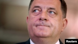 The killing of a police officer in an attack in Zvornik prompted Bosnian Serb President Milorad Dodik, shown at a gathering of members of his political party in East Sarajevo on April 25, 2015, to call again for greater independence for the Serb Republic
