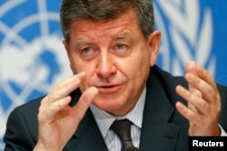 FILE - Guy Ryder, Director-General of the International Labor Organization (ILO) during a news conference in Geneva, May 26, 2014.