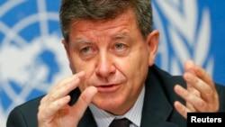 Tổng giám đốc Tổ chức Lao động Quốc tế (ILO) Guy Ryder trong một cuộc họp báo tại Geneva.