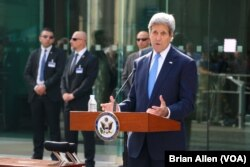 U.S. Secretary of State John Kerry, in Vienna, Austria, for Iran nuclear discussions, spoke to President Barack Obama's announcement that the U.S. and Cuba had agreed to reopen embassies in each other's capitals, July 1, 2015.