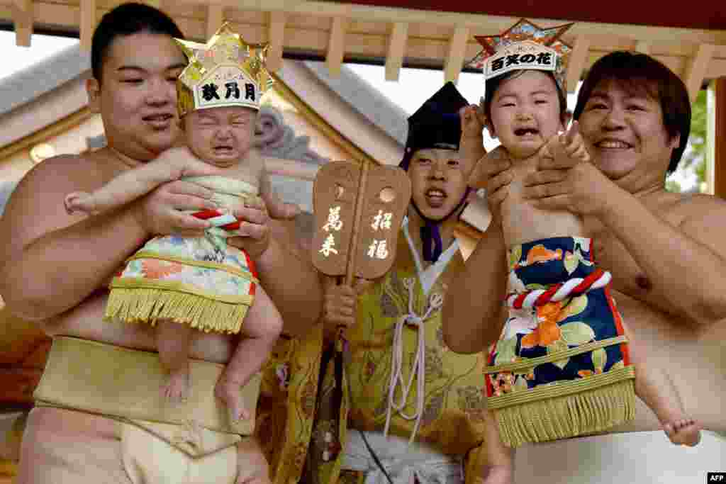 "Sumo wrestlers hold up crying babies in front of a referee (C) clad in a traditional costume during a ""Baby-cry Sumo"" event at the Kamegaike-Hachiman Shrine in Sagamihara, Kanagawa prefecture, Japan."