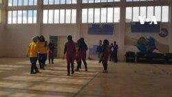مسابقۀ ورزشی هندبال دختران در ولایت بامیان