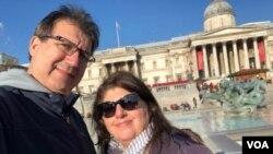 "Dora Mekouar and her husband on their ""empty nest moon"" in London, November 2019. (Dora Mekouar/VOA)"