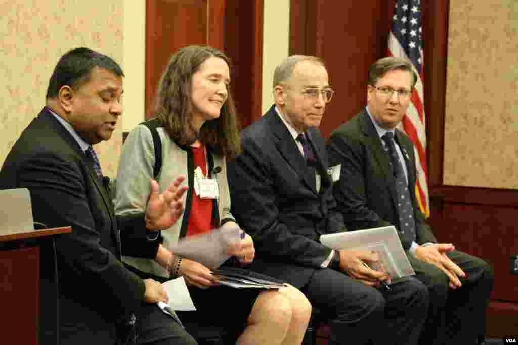 From left to right, (1) Satu Limaye, Director, East-West Center in Washinton, (2) Patricia Mahoney, Acting Deputy Assistant Secretary for Southeast Asia, US, Department of State, (3) Lieutenant Gen. Wallace Gregson, Jr. (Ret.), Former Assistant Secretary of Defense for Asian and Pacific Security Affairs, (4) Alex Feldman, President, US-ASEAN Business Council during 40th Anniversary Cebration of the US-ASEAN Partnership at Capitol Visitor Center on Tuesday May 16, 2017. (Seourn Vathana/VOA Khmer)
