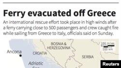 Peta yang menunjukkan lokasi Norman Atlantic, feri yang mengangkut lebih dari 400 penumpang yang terbakar di Laut Adriatik.