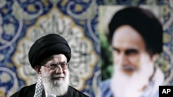 FILE - Iran's Supreme Leader Ayatollah Ali Khamenei delivers speech to paramilitary Basij force, Tehran, Nov. 20, 2013.