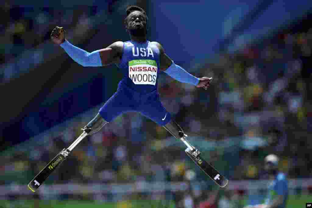 Regas Woods of the United States, competes in the men's long jump T42 final, during the Paralympic Games, at the Olympic Stadium, in Rio de Janeiro, Brazil, Sept. 17, 2016.