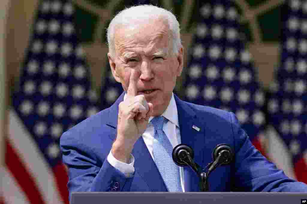 조 바이든 미국 대통령이 백악관 로즈가든 연설에서 총기폭력이 중단되야 한다고 강조했다.