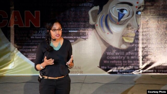 Najla Salih presents her poetry as a new view of Sudan, women and beauty during a TED talk on YouTube. (Courtesy Najla Salih)