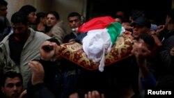 Đám tang của ngư dân Palestine Tawfiq Abu Reyala ở trại tị nạn Shatti, thành phố Gaza, 7/3/2015.