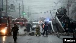 伏尔加格勒的一辆公交车被炸现场 2013年12月30日