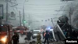 伏尔加格勒的一辆公交车被炸现场(2013年12月30日)