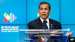FILE - Peruvian President Ollanta Humala, pictured at the EU-CELAC summit in Brussels in June, has declared several emergencies during his four years in office to calm protests against mining projects.