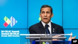 Peru's President Ollanta Humala speaks during a media conference after signing a visa waiver agreement with the EU on the sidelines of the EU-CELAC summit in Brussels, June 10, 2015