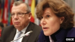 Anne Witkowsky, Acting Principal Deputy Coordinator of the Bureau of Counterterrorism, U.S. Department of State, delivering the keynote speech at an OSCE meeting on terrorism, alongside Yury Fedotov, Executive Director of the UNODC, Vienna, 12 November 20