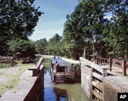 A lock on the C&O Canal, near the place where the canal begins in Washington's Georgetown section.