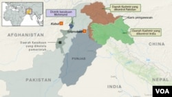 Pakistan map with line of control Indonesian copy