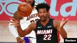 Jimmy Butler (22) de Miami Heat, lors de la finale NBA contre les Los Angeles Lakers, USA, le 4 octobre 2020.