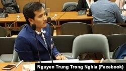Nguyễn Trung Trọng Nghĩa tại hội nghị về nhân quyền ở Geneva ngày 20/2/2018.