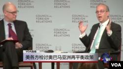 美國國務院負責亞太事務的助理國務卿拉塞爾(右)和澳大利亞智庫專家富利洛夫(左)。(視頻截圖)