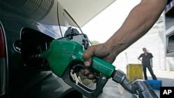 FILE - A Venezuelan gasoline station.
