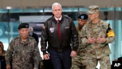 U.S. Vice President Mike Pence arrives at the border village of Panmunjom in the Demilitarized Zone which has separated the two Koreas since the Korean War, South Korea, April 17, 2017.