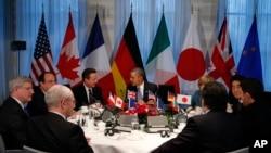 Predsednik Barak Obama na sastanku sa liderima Grupe 7 u Hagu, 24. marta 2014.