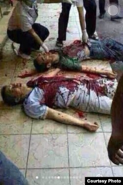 抗议中疑被打死的市民(微博图片 )