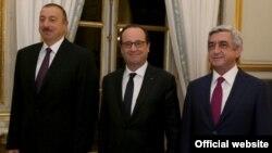Fransa, Azərbaycan və Ermənistan prezidentləri Fransua Olland, İlham Əliyev və Serj Sarkisyan