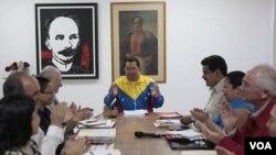 El presidente Hugo Chávez, durante la reunión de gabinete que sostuvo en La Habana, Cuba.