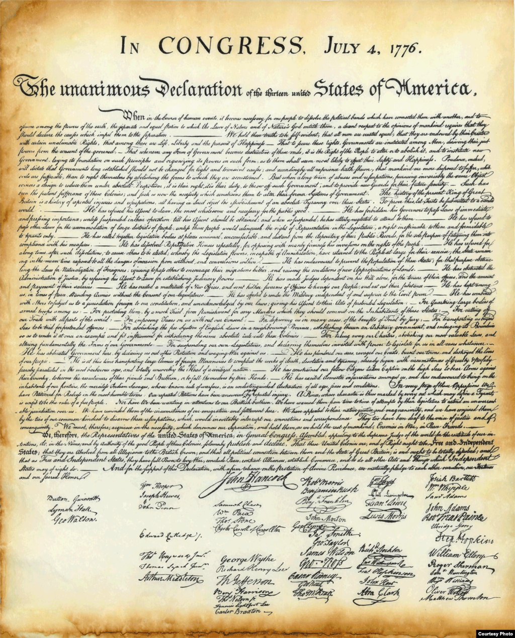 US Independence Declaration