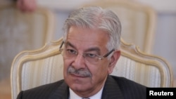 FILE - Pakistani Foreign Minister Khawaja Asif attends a meeting in Moscow, Russia Feb. 20, 2018.