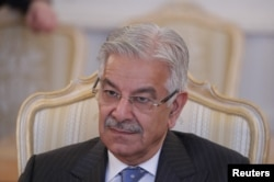 Pakistani Foreign Minister Khawaja Asif attends a meeting in Moscow, Feb. 20, 2018.