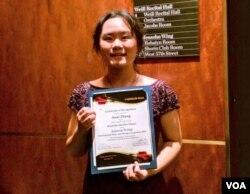 张安妮获颁American Protege2016年国际钢琴和弦乐比赛荣誉奖(姚诚拍摄)