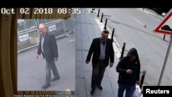 Still images from Turkish security sources claim to show Saudi journalist Jamal Khashoggi as he arrives at Saudi Arabia's Consulate and another man reportedly wearing Khashoggi's clothes while walking in Istanbul, Turkey.