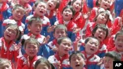 북한 평양시 유치원 아동들 (자료사진)
