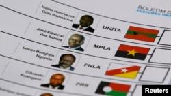 Boletim de voto em Angola